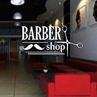 Ansyny 30 * 17センチサロンステッカーはさみデカールヘア理髪店ビニールウォールアートデカールヘアカットの装飾装飾壁画サロンステッカー