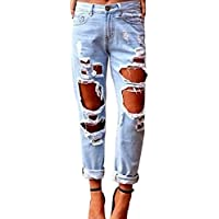 Fboards Women's Stretch Faded Ripped Slim Fit Skinny Denim Jeans