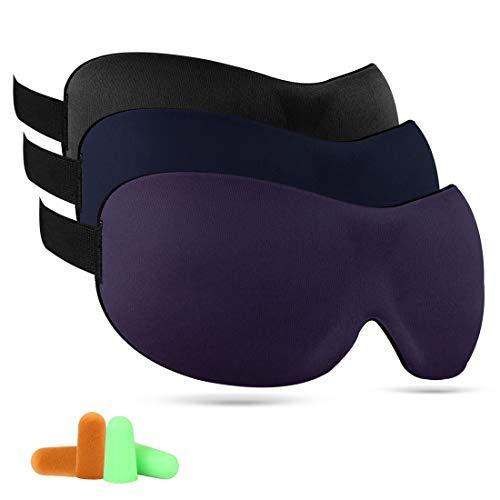 睡眠 アイマスク - 3D アイマスク 立体型 軽量 究極の柔らか シルク質感 安眠 アイマスク 圧迫感なし究極の柔らかシルク質感 睡眠 旅行 疲労回復に最適 フリーサイズ 良質な耳栓付き 3枚セット