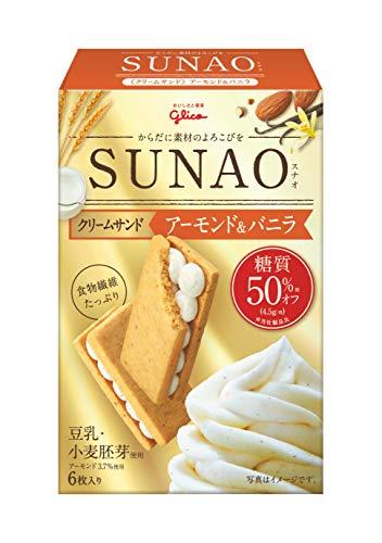 江崎グリコ (糖質50%オフ) SUNAO(クリームサンド)アーモンド&バニラ 6枚×7個