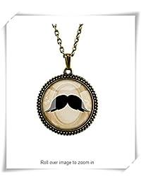 ビンテージカボションのまわりのカメオのペンダントのネックレスは、口髭付きのあごひげのネックレスのペンダントは、芸術プリントをガラスタイルの宝石の下で