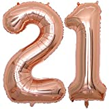 BALONAR 40 inch Jumbo 21st Rose Gold Foil Balloons for Birthday Party Supplies,Anniversary Events Decorations and Graduation