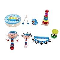 Baoblaze 全7種類 楽器おもちゃ 打楽器 音楽おもちゃ 木製 ベビー 知育玩具 - ボーイ7個-2