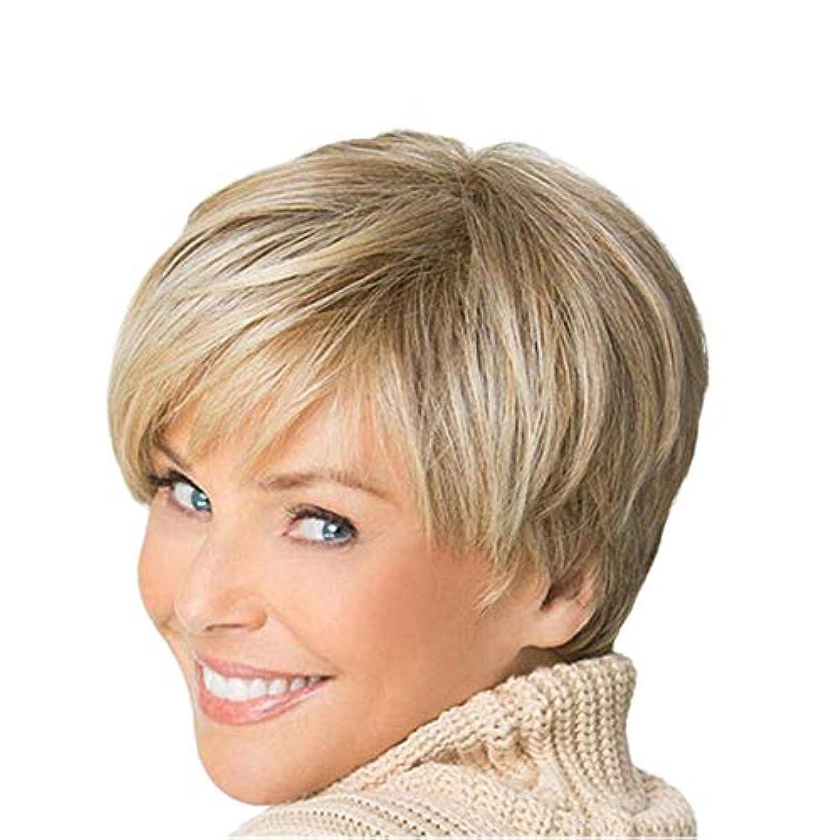 取り組む計器かろうじてYOUQIU 女性ブロンドボブヘアウィッグ自然な耐熱かつらのためにショートカーリーふわふわウィッグ (色 : Blonde)