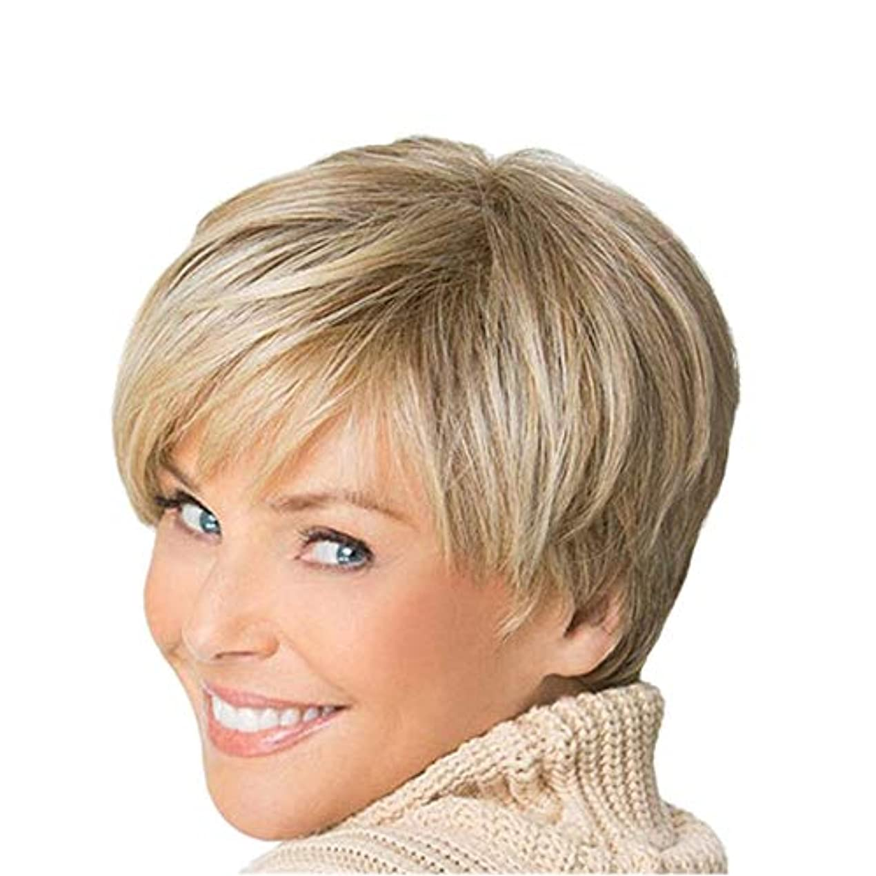 レルム対処する獣YOUQIU 女性ブロンドボブヘアウィッグ自然な耐熱かつらのためにショートカーリーふわふわウィッグ (色 : Blonde)