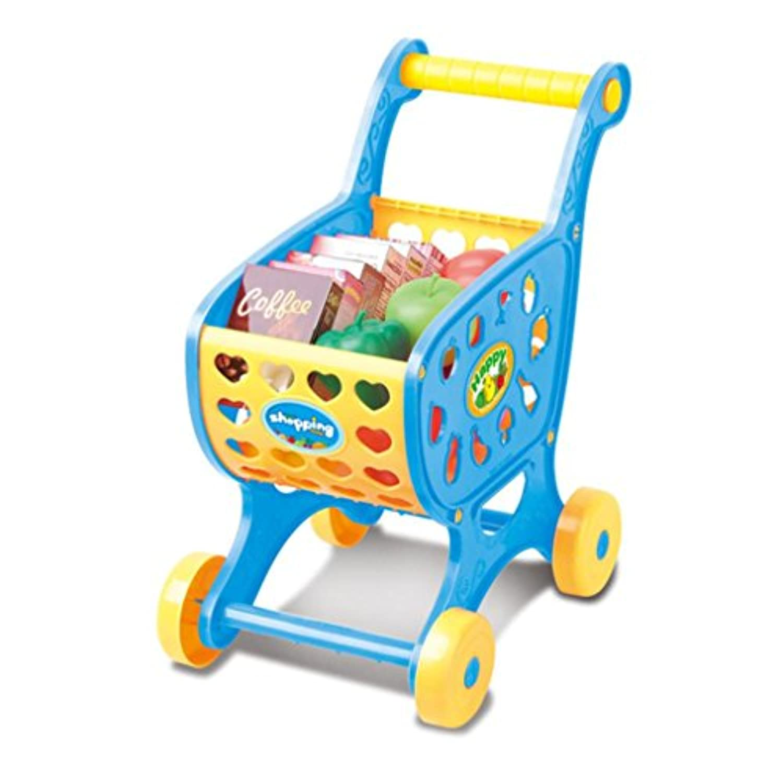 Susenstoneショッピングカート子供おもちゃ、ベビーHandプッシュウォーカーカート、キッド教育玩具クリスマスギフト ブルー Susenstone