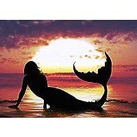 5d diyダイヤモンド絵画クロスステッチダイヤモンド刺繍ダイヤモンドフルモザイクサンセット人魚絵家の装飾ギフト、40×50cm