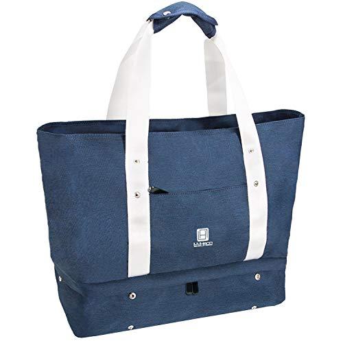 防水多機能旅行バッグ 靴収納 特大サイズトートバッグ 軽量スポーツバッグ 機内 持ち込みマザーズバッグ Luuhann (ネイビー)