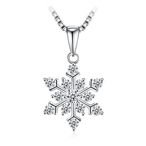 ネックレス レディース シルバー925 ジルコニア 金属アレルギー対応 J.Rosée「粉雪」雪 雪の結晶 プレゼント 45cm + 5cm