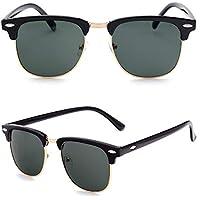 Men Women Clubmaster & Vintage Sunglasses Unisex UV400 Half Rimmed Frames Black A