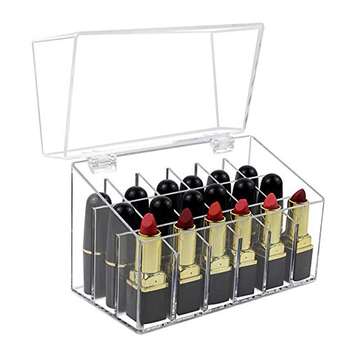 整理簡単 簡単なアクリル口紅オーガナイザー化粧ホルダー化粧品収納スタンド付きフタ (Color : Clear, Size : 17.3*8.6*13.2CM)