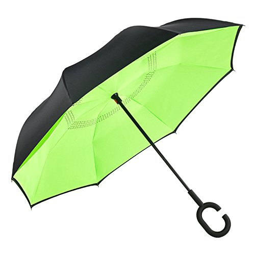 CarBoys 逆転傘 逆さ傘 逆折り式傘 自立傘 長傘 手離れC型手元 耐風 撥水加工 晴雨兼用 ビジネス用 車用 UVカット遮光遮熱 傘袋/ケース付き (ダーク グリーン)