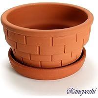鉢 KANEYOSHI 【日本製/三河焼】 陶器 植木鉢 プランター レンガ 8号 【赤焼 受皿 7号付き】