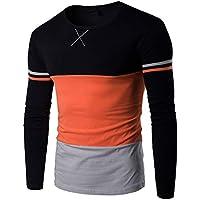 PERDONTOO Mens Cotton Slim Fit Long-Sleeve Contrast Color Stitching T-Shirt