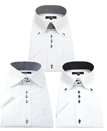 葛飾北斎 襟高半袖ワイシャツ 3枚セット クールビズ 豊富な7サイズ hgs 001-S