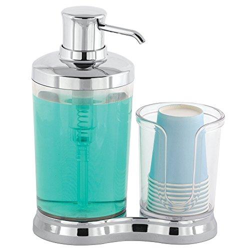 [해외]InterDesign 구강 양치질 펌프 디스펜서 컵 홀더가있는 Gina 크롬 23712EJ/InterDesign mouthwash gargle pump dispenser with cup holder Gina Chrome 23712 EJ