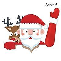 Tenflyerサンタカーステッカー、クリスマスカーリアワイパーステッカー、クリスマスリアワイパーステッカー、かわいいサンタクロース手を振るワイパーデカールタグ、雪だるまを振るアームワイパー