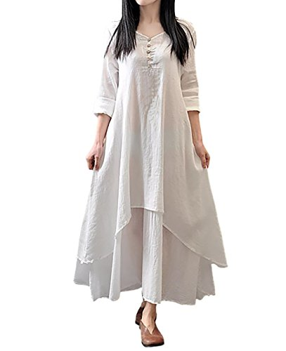 [해외](모란 팝) PEONYPOP 플레어 훙 와리 린넨 바람 레이어드 바람 큰 사이즈 맥시 길이 롱 원피스 M ~ XXXL 여성/(Peony Pop) PEONYPOP Flare Funwari Linen Wind Overlap Style Large Size Maxi Length Long Dress M ~ XXXL Women`s