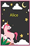 Alice: Personalized Unicorn Sketchbook For Girls &kids With Name - 6x9 120 Pages.Birthday gift idea.: Unicorn Notebook, Diary for writing &note Journal Gift, Soft Cover, Matte Finish