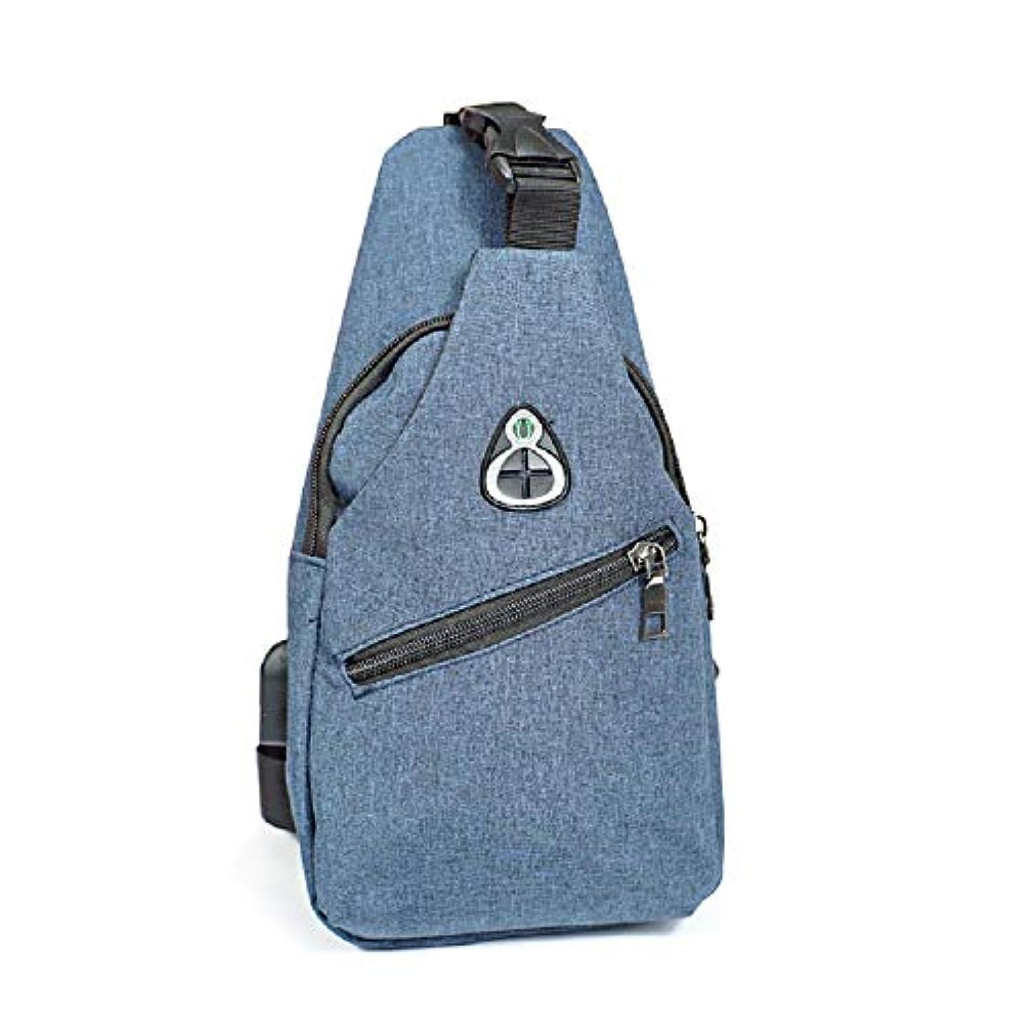 サミット素晴らしい良い多くの放棄するクリエイティブ屋外旅行オックスフォード布Usb充電メンズ小さな胸多機能メッセンジャーバッグ (Color : A, Size : 16*32cm/6.3*12.6in)