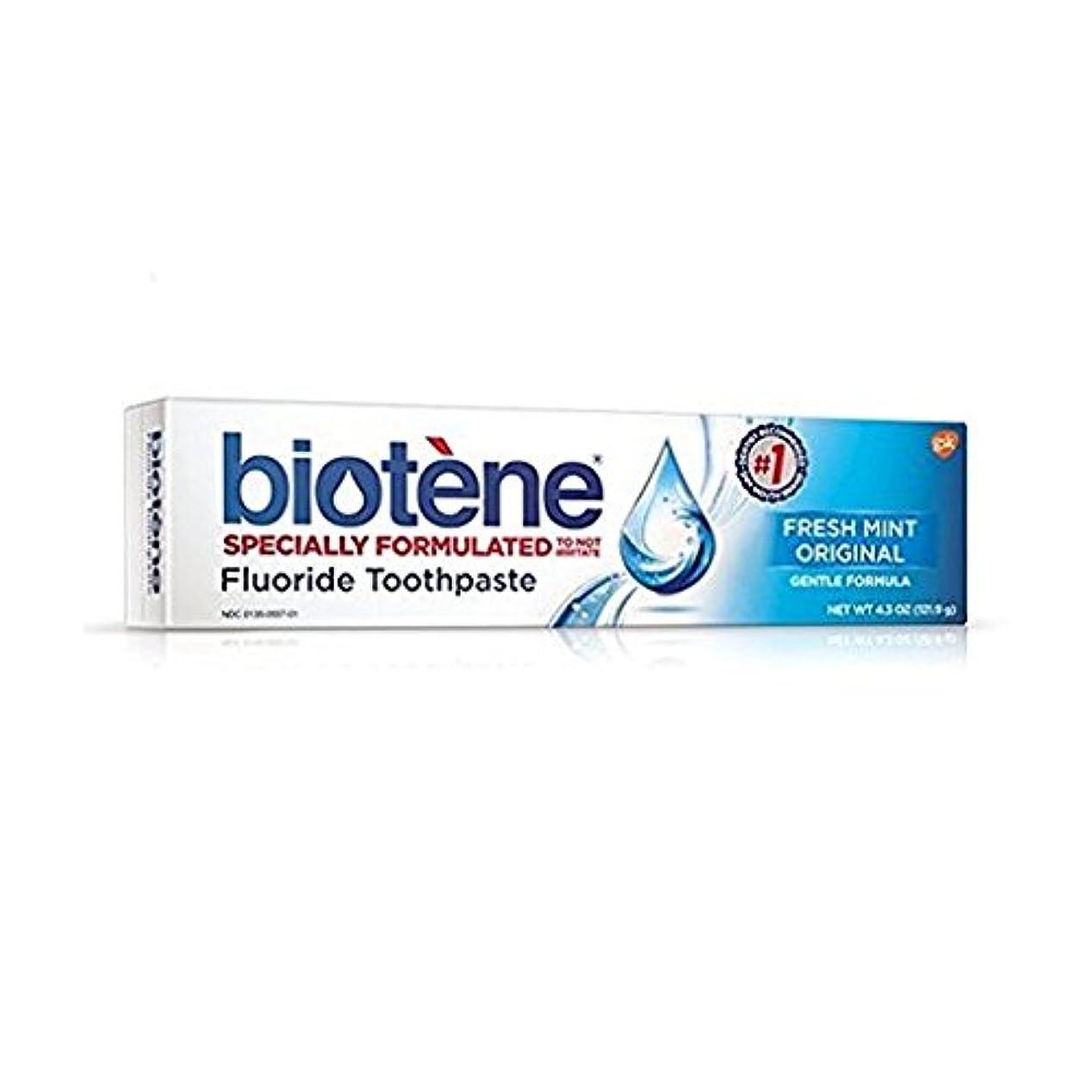 コロニアル目的コロニアルBiotene Dry Mouth Fluoride Toothpaste Fresh Mint Original 4.3 Oz. (2 Pack) by Biotene