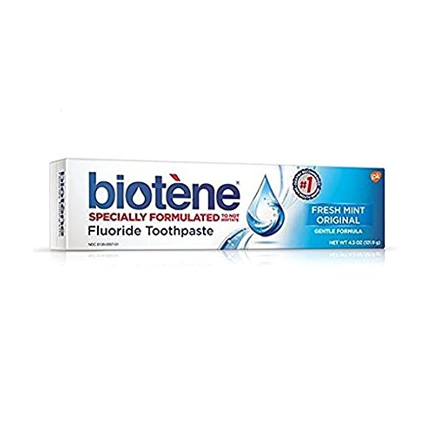 スローパックピンチBiotene Dry Mouth Fluoride Toothpaste Fresh Mint Original 4.3 Oz. (2 Pack) by Biotene