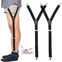 Mens Shirt Stays Military Adjustable Elastic Garter Straps Sock Non-slip Clamps