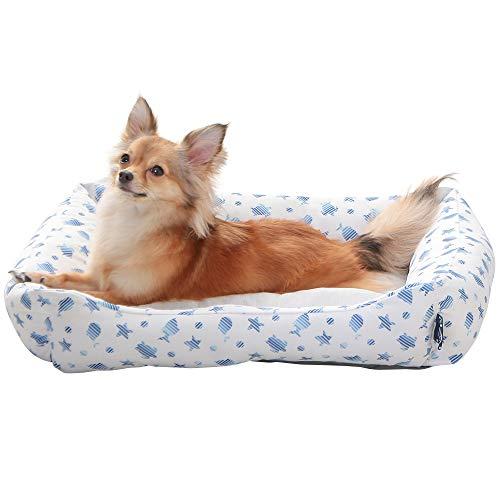 アイリスオーヤマ ペット用クールソファベッド 角型 ホワイト/ブルー Mサイズ