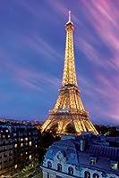 Dusk Paris France ピラミッドアメリカエッフェル塔 12x18 inches 317450