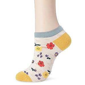 (クドゥールアン) coudre un 麻混キナリ 大きいお花柄スニーカーソックス CUL682206-035 035ディープブルー ディープブルー 23-25