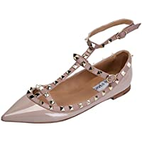 CAMSSOO Women's Metal Studs Strappy Buckle Pointy Toe Flats Comfortable Dress Pumps Shoes