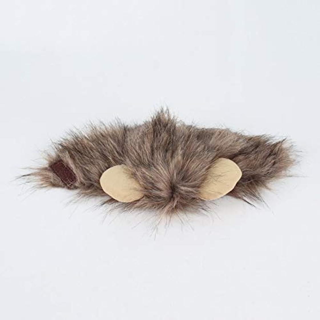 キャンセルクラックポットシャンプーSaikogoods おかしいかわいいペットキャップコスプレライオンの形の帽子後背位キティライオンハット快適なキャットハットソフト子犬ウィッグ通気性のアニマルキャップ 褐色 M
