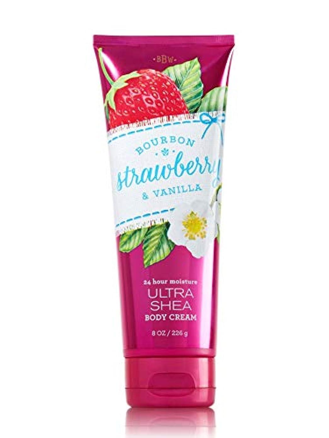 最悪モザイク勝者【Bath&Body Works/バス&ボディワークス】 ボディクリーム ブルボンストロベリー&バニラ Body Cream Bourbon Strawberry & Vanilla 8 oz / 226 g [並行輸入品]