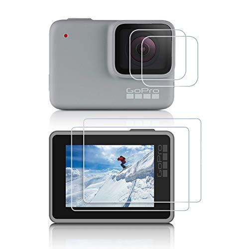 iTrunk Gopro Hero 7 Silver/White 保護フィルム 4枚 ゴープロ7 シルバー/ホワイト 強化ガラスフィルム 9H 液晶保護 カメラフィルム スクリーンフィルム レンズフィルム 気泡ゼロ 貼りやすい アクションカメラ アクセサリ