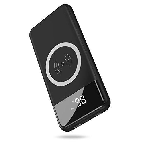 モバイルバッテリー Hokonui ワイヤレス充電器 10000mAh 大容量 Qi 急速充電 無線充電器 置くだけ 充電 2USBポート 3台同時充電 ケーブル不要 スタンド機能付 持ち運び 無線と有線両用 iPhonex iPhone8 Plus Galaxy note8 S8 S8+ S7 S7 android各種他対応 (ブラック)