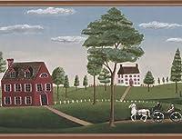 Retro Art レトロ村馬がワイド壁紙ボーダーヴィンテージデザイン運送グリーンヒルズ木ブルースカイが描かれ、ロール15' X 10.4