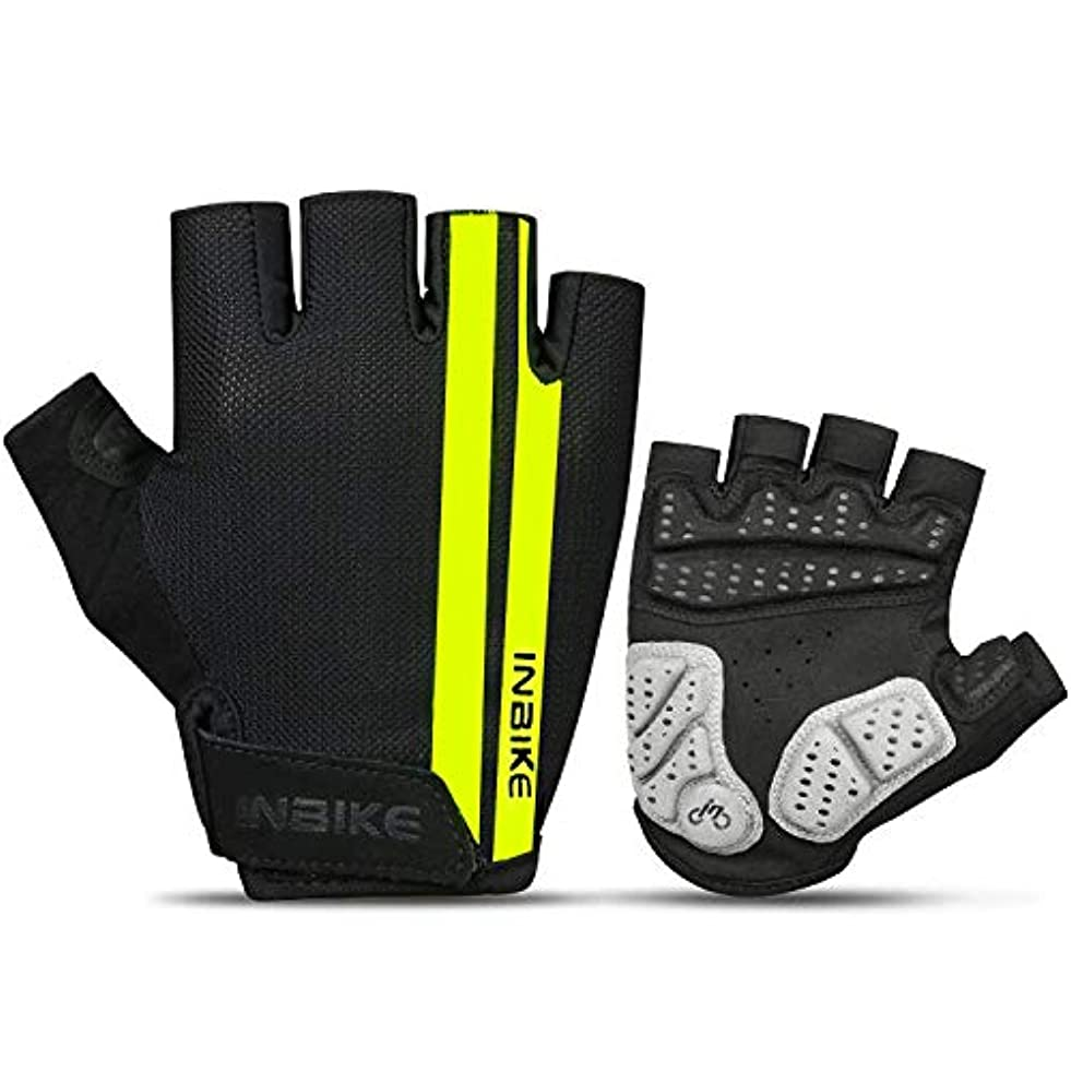 ペレット自分のために居心地の良いINBIKE(インバイク) サイクルグローブ 運動グローブ  半指 指切り 滑り止め付き 通気性 (グリーン, M)
