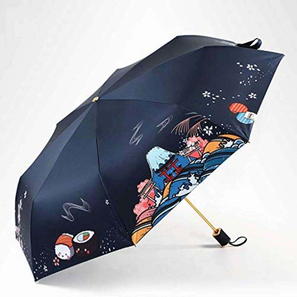 批判通信網アナニバーZEZHOU 日傘、黒いプラスチック日焼け止め防風雨防止UVプロテクション三つ折り傘UPF50 + (色 : Sakura)