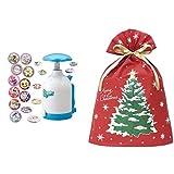 Canバッチgood! キラキラいっぱいDXセット + インディゴ クリスマス ラッピング袋 グリーティングバッグ3L クリスマスツリー レッド XG983