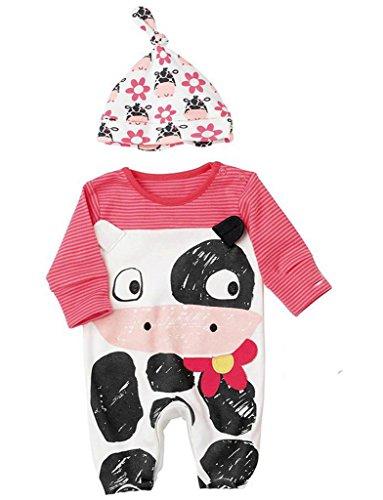 ecea20fec646e YiyiLai ベビー ロンパース 赤ちゃん カバーオール 新生児 服 スリーパー 出産祝い 2点セット タイプB 80
