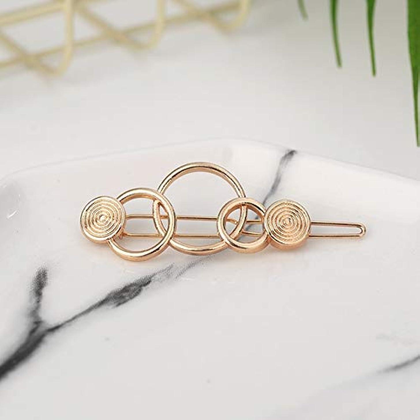 人要求する火傷フラワーヘアピンFlowerHairpin YHM 2ピースファッション女性ヘアアクセサリートライアングルヘアクリップピンメタル幾何学的合金ヘアバンド(ムーンゴールド) (色 : Three-ring gold)