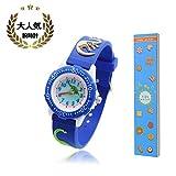 腕時計 キッズ TANOKI 恐竜 ウォッチ 男の子 子供用 30m防水 アナログ表示 小学生 ボーイズ 入園 入学 お祝い 誕生日プレゼント ブルー