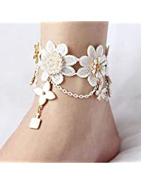 Dongmei Women Flower Ankle Chain Anklet Barefoot Sandals Jewelry