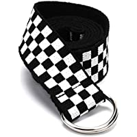 Hip Hop Checkered Black White Long Belt Women Men Waist Belt Rave Festival Club