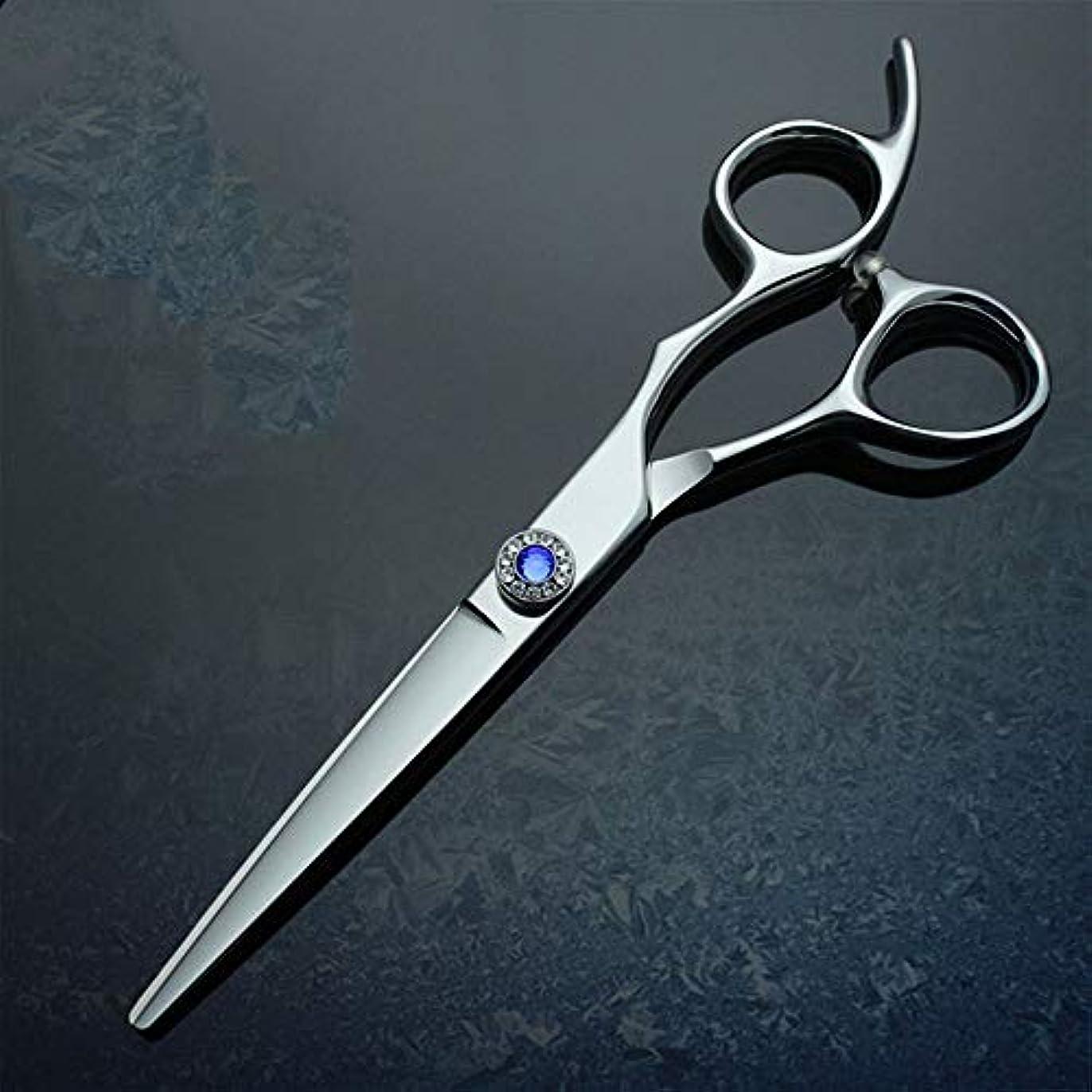 馬力十代ネーピア6インチプロフェッショナルはさみ高級パイプハンドル440C理髪はさみフラットせん断 ヘアケア (色 : 青)