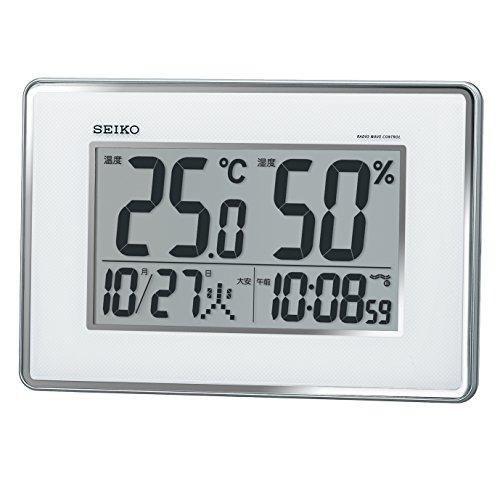 セイコー クロック 掛け時計 置き時計 兼用 電波 デジタル カレンダー 温度 湿度 表示 銀色 メタリック SQ437S SEIKO