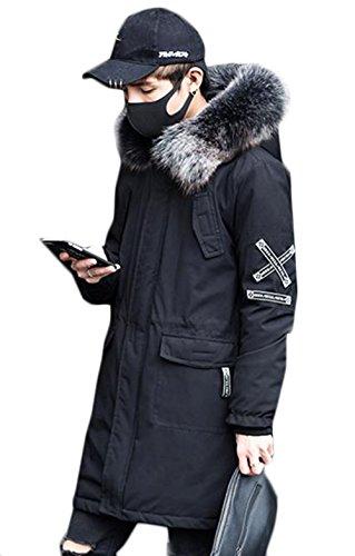 PIITE メンズ 冬 柔らかい ファッション 厚手 ロングコート シンプル スリム ロングアウター フード付き 韓国風 カジュアル 通勤 綿入れコート