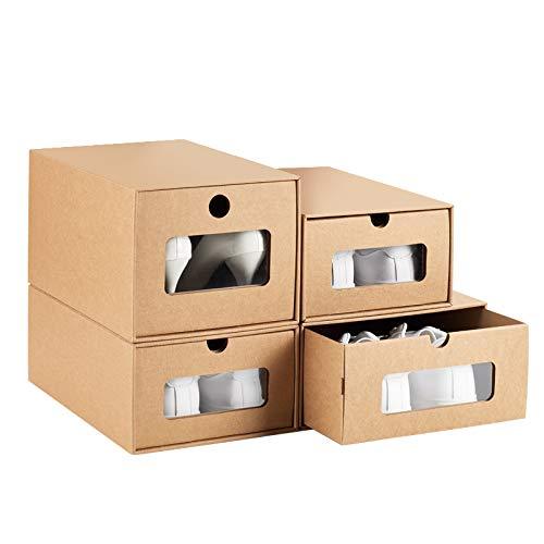 4枚セット 引き出し式シューズボックス 靴収納ボックス