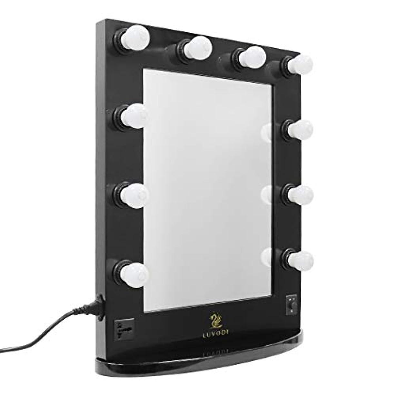 今衣類マイルドLUVODI ハリウッドミラー 女優 ドレッサー LEDライト付き 壁掛け化粧鏡 大型 2way ブラック