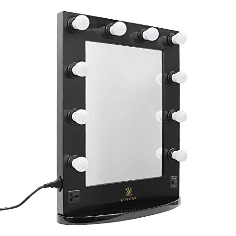 添付石膏パイルLUVODI ハリウッドミラー 女優 ドレッサー LEDライト付き 壁掛け化粧鏡 大型 2way ブラック